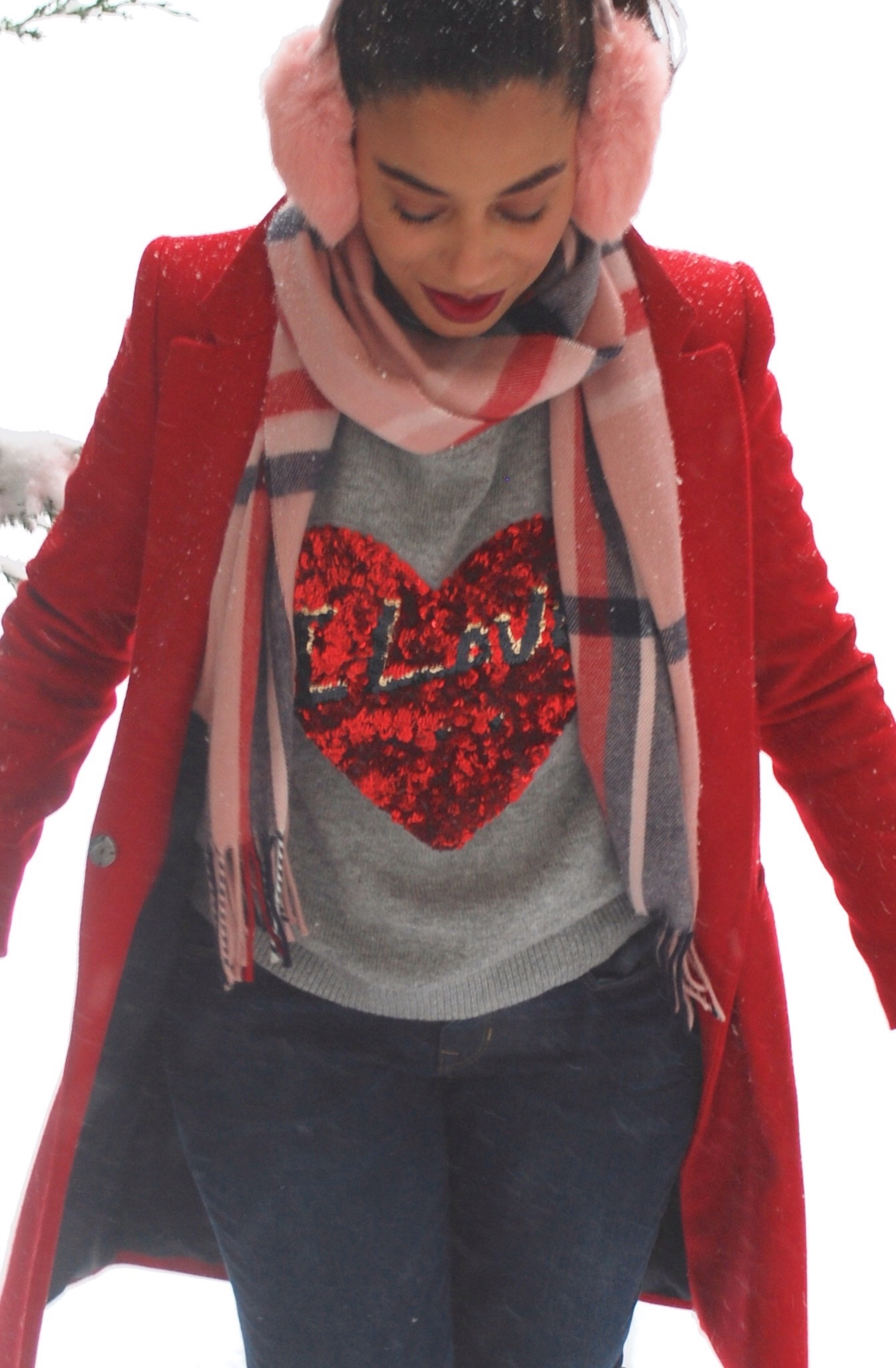 Red Heart Gray Sweatshirt