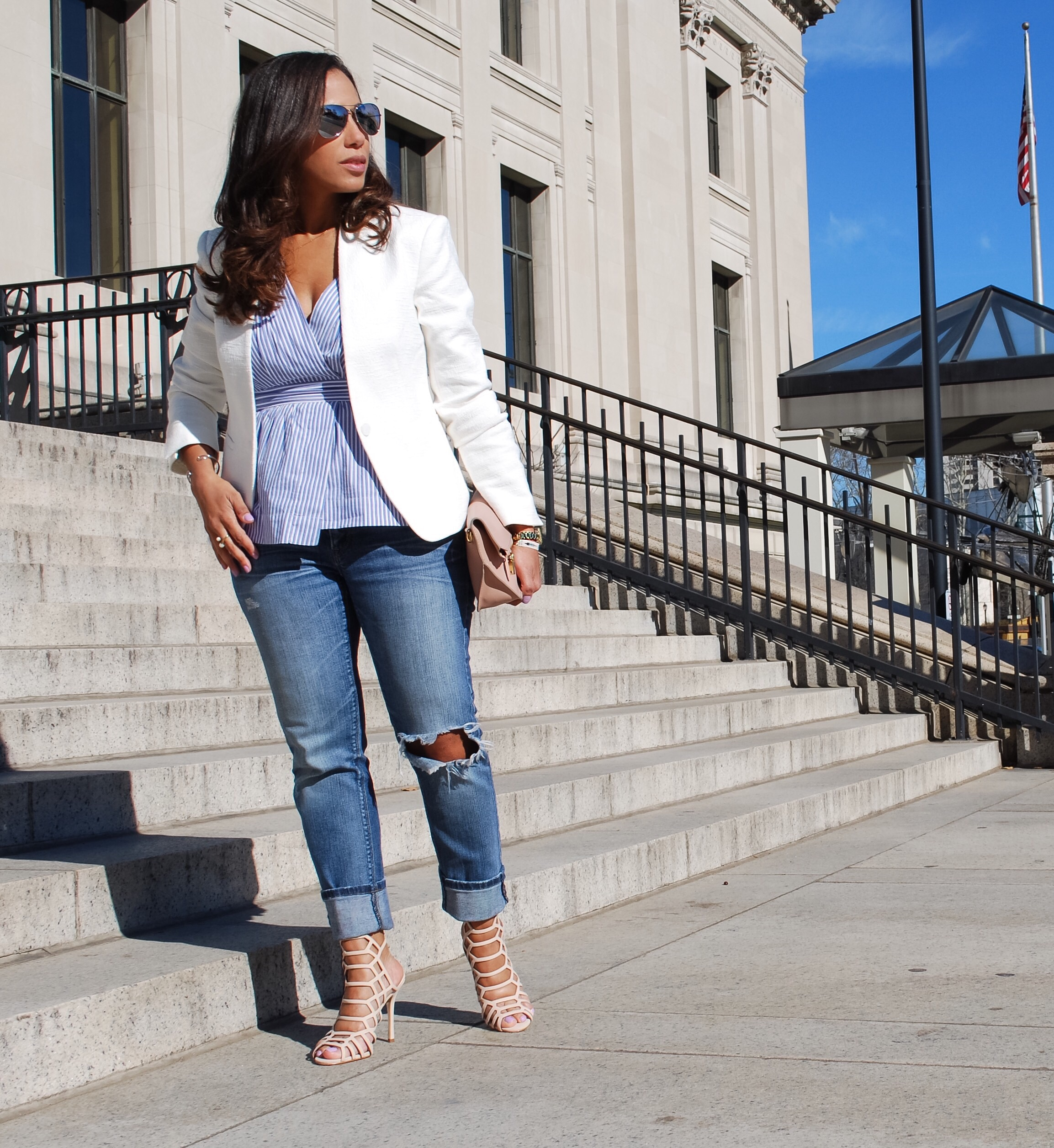This Season's Gold // Striped Peplum and Boyfriend jeans