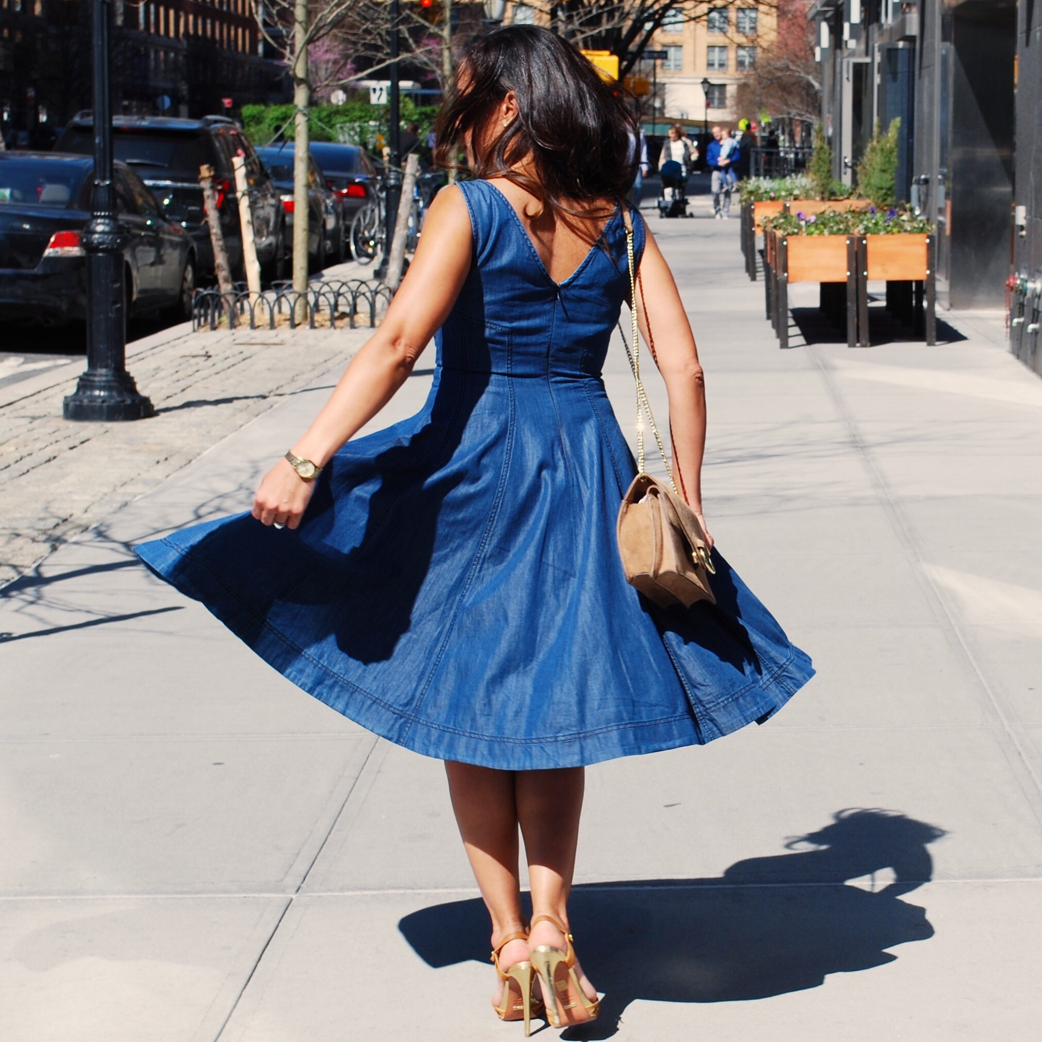This Season's Gold // Sunday Brunch - Anthropologie Denim Dress