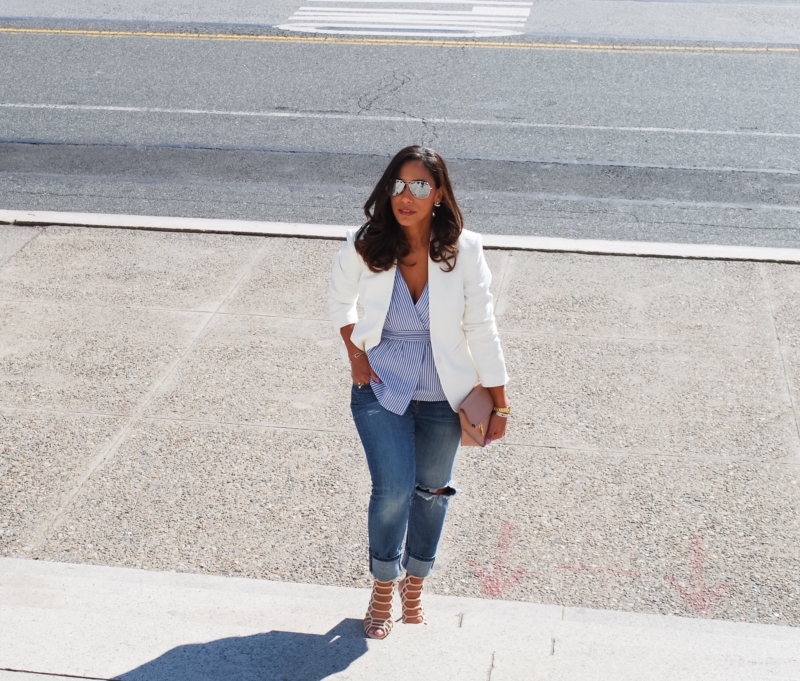This Season's Gold // White Blazer and Peplum