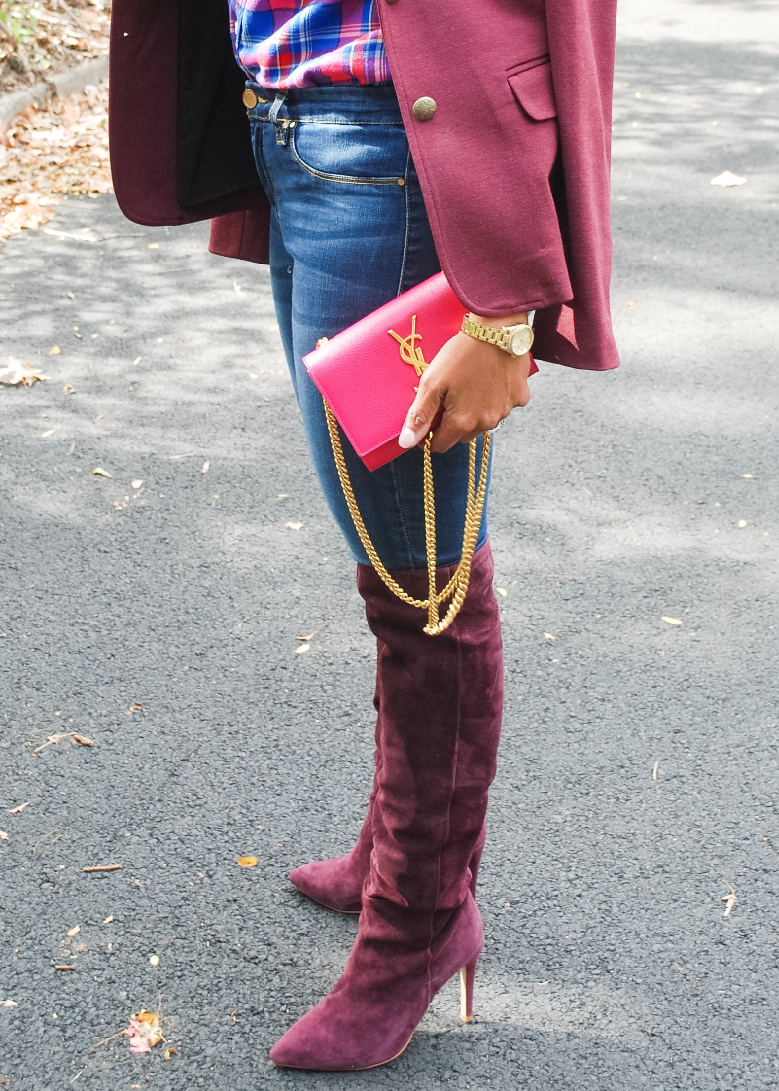 Burgundy Over the Knee Boots 2
